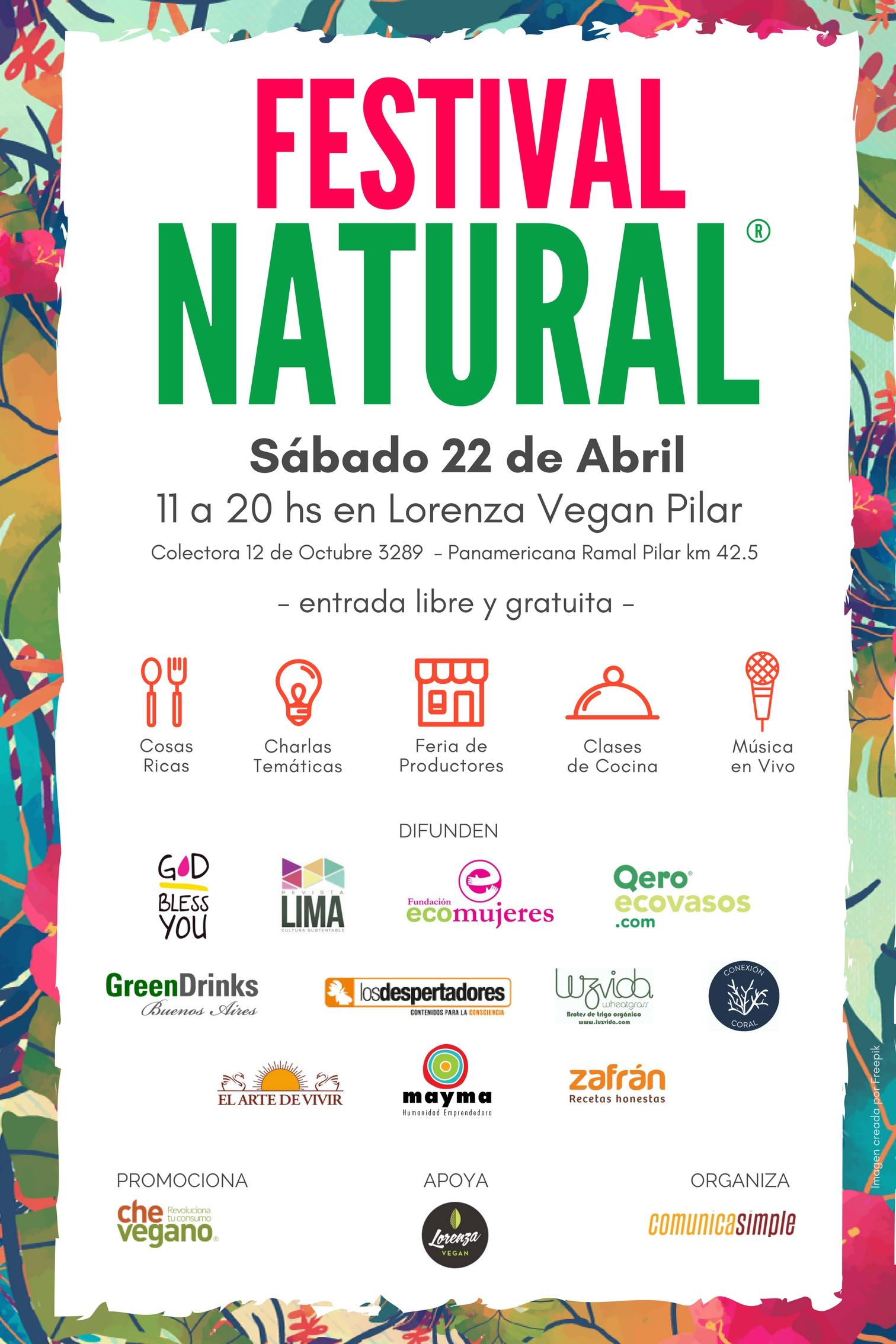 FESTIVAL NATURAL - 22abril en Pilar (Lorenza Vegan) - FLYER alianzas de difusión v2