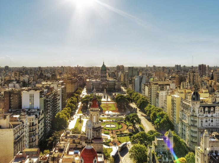 View of Palacio del Congreso from Palacio Baralo in Buenos Aires, Argentina